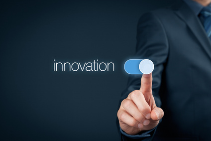 Innovation in business concept. Businessman (mentor, coach) switch over innovative business and marketing.